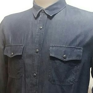 American Rag Cie Men Blue Denim Snap Shirt